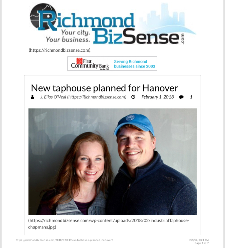 Richmond BizSense, Industrial Taphouse, craft beer