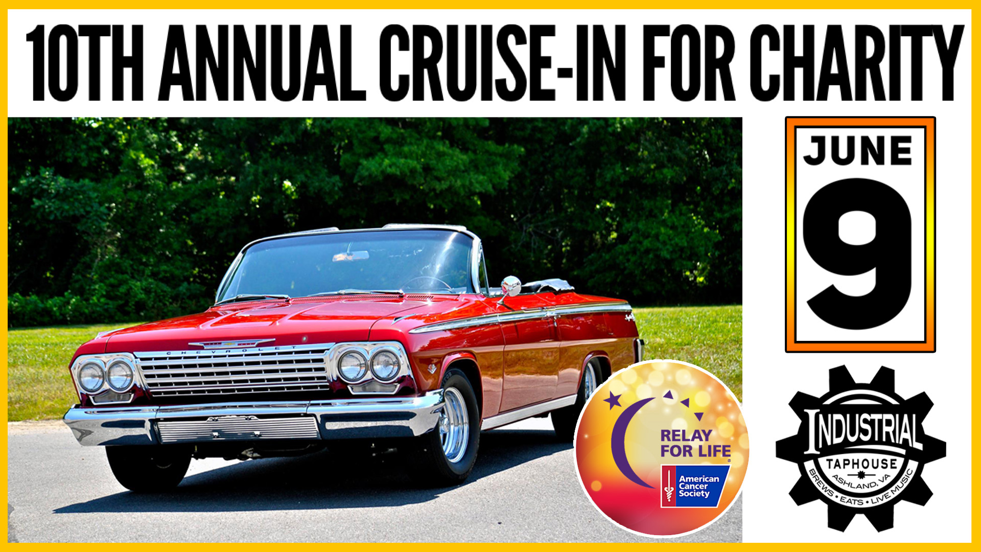 cruise-in, charity, fundraiser, American cancer society, cancer, brunch, dinner, lunch specials, dinner specials, mimosas, momosas, live music, industrial taphouse, Thursday night, best bar, best burger, craft beer, best new restaurant, ashland, Virginia, cotu, rva