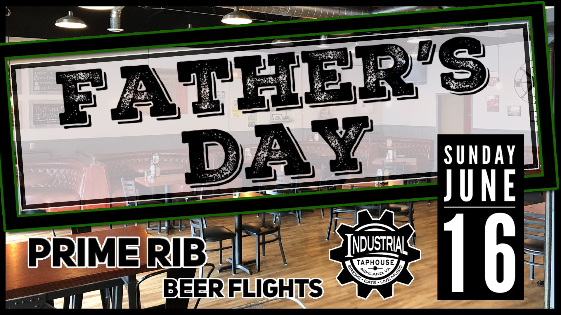 fathers day, industrial Taphouse, prime rib, beer flights, burgers, best restaurant, best bar, best burger